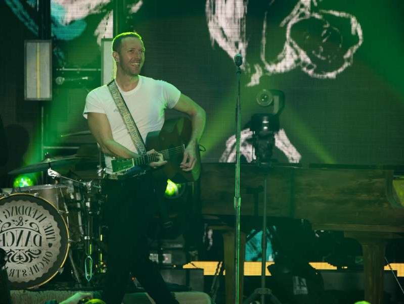 Chris Martin standing on a stage: Coldplay performs on stage at the 2020 iHeartRadio ALTer EGO concert at The Forum in Inglewood, California, January 18, 2020.
