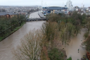 Drone footage shows the scale of the Storm Dennis flooding in Cardiff