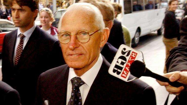 Ray Williams wearing a suit and tie: HIH founder Ray Williams attends the royal commission into the collapse of the insurance giant in 2002.