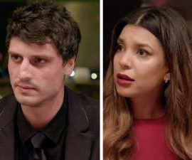 a man and a woman looking at the camera: The truth surrounding the MKR love triangle is finally revealed but how did Lauren's boyfriend react to the news of her cheating?