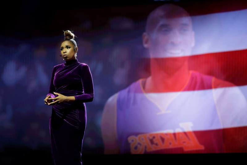 Jennifer Hudson sings a tribute to former NBA All-Star Kobe Bryant and his daughter Gianna who were killed in a helicopter crash on Jan. 26, 2020, before the NBA All-Star basketball game Sunday, Feb. 16, 2020, in Chicago. (AP Photo/Nam Huh)