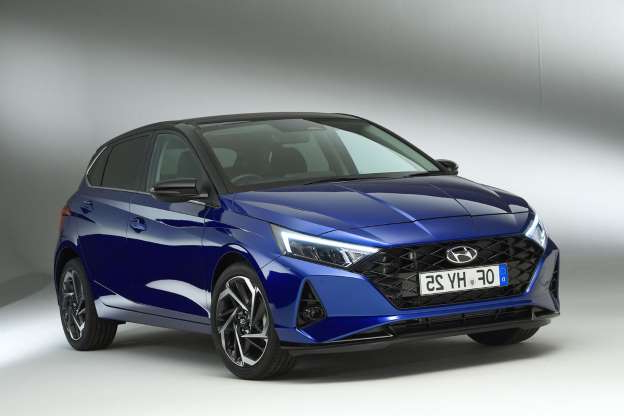 a blue car: New Hyundai i20 arrives with new styling and mild-hybrid engines