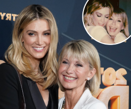 Delta Goodrem et al. posing for the camera: Delta Goodrem has shared a photo of herself and Olivia Newton John backstage at the Fire Fight concert in Sydney on Sunday.