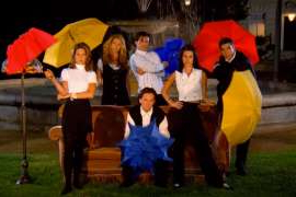 a group of people posing for the camera: friends opening sequence