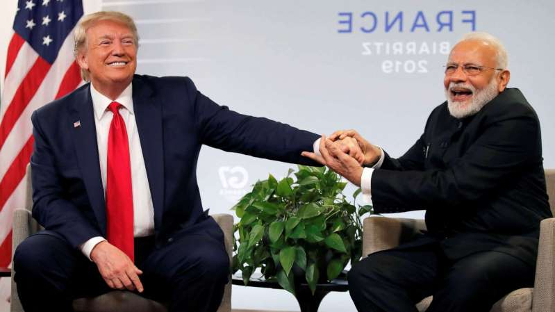 Narendra Modi, Donald Trump are posing for a picture: President Donald Trump meets Indian Prime Minister Narendra Modi for bilateral talks during the G7 summit in Biarritz, France, Aug. 26, 2019.