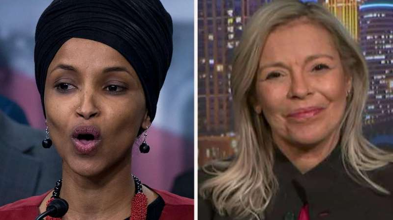 a close up of Ilhan Omar: Dalia al-Aqidi tells 'Fox & Friends' that she's running for Congress because Rep. Ilhan Omar is doing 'irreparable harm' to the country with her 'hatred and racism.'