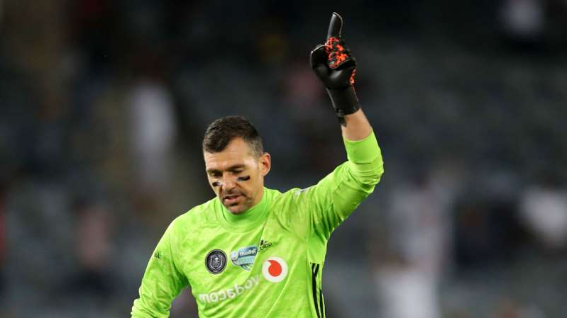 a man holding a green ball: Wayne Sandilands of Orlando Pirates, October 2019