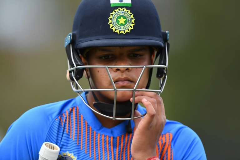 a close up of a person wearing a helmet: India's Shafali Verma was player of the match against New Zealand