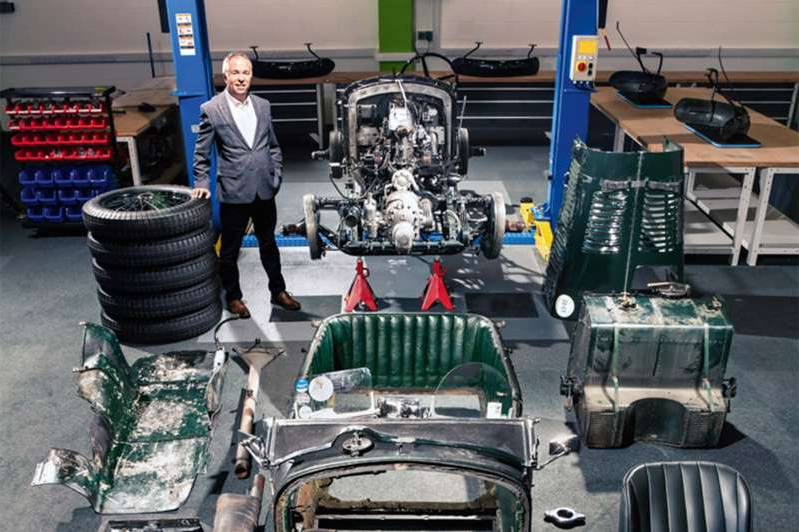 a pile of luggage sitting on top of a suitcase: The Blower resurgence project is led by experienced Mulliner engineer Glyn Davies (pictured above)