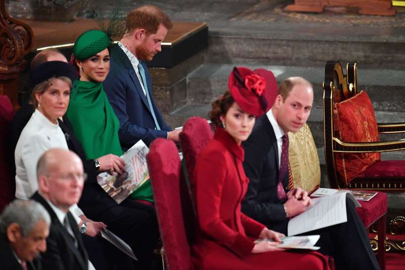 Harry and Meghan seated behind Will and Kate at the Commonwealth Day Service.