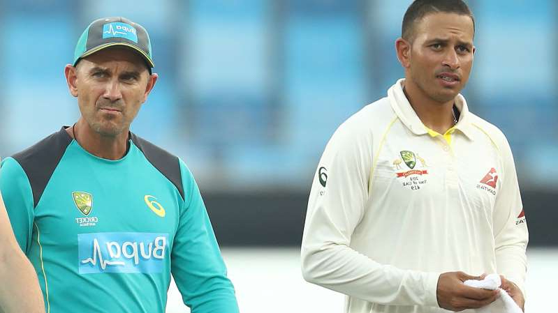 Usman Khawaja, Justin Langer are posing for a picture: Australian batsman Usman Khawaja and coach Justin Langer during the first Test against Pakistan in 2018.