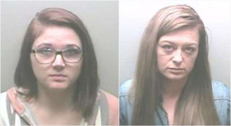 a couple of people posing for the camera: Former nursing home employees Ashley Johnston (left) and Anna Scroggins, face multiple sex charges in the US.