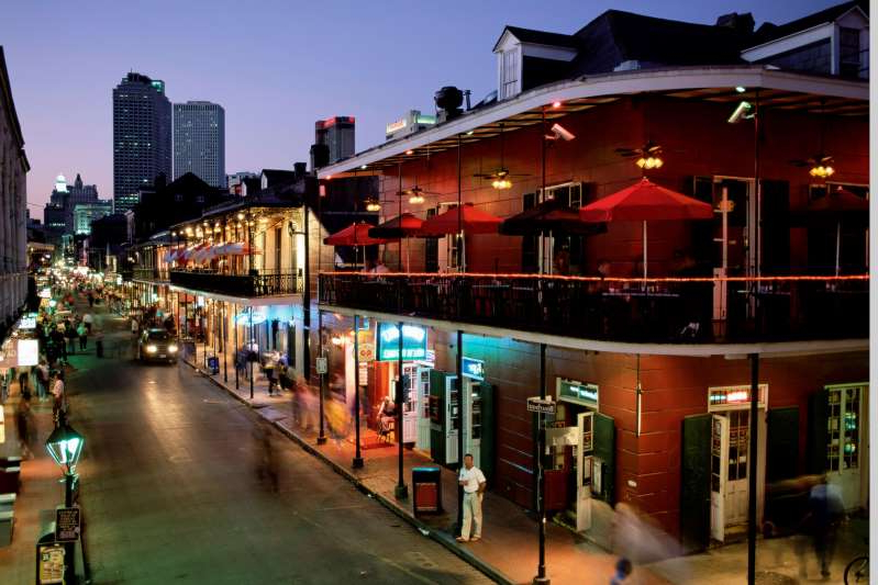 City skyline and Bourbon Street, New Orleans, Louisiana, United States