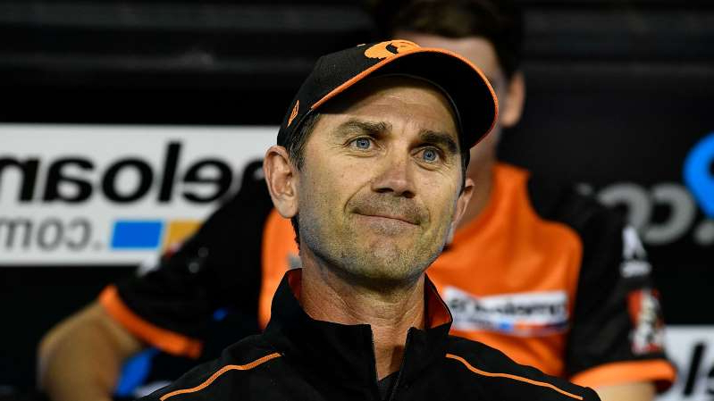 a close up of Justin Langer: Justin Langer during the Big Bash League