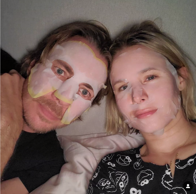 Kristen Bell et al. taking a selfie: As the couple practices social distancing during the coronavirus pandemic, they took some time to enjoy some self-care