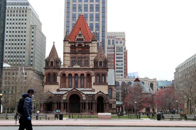 "Slide 1 of 49: BOSTON, MASSACHUSETTS - MARCH 25:  A view of an unusually quiet Copley Square on March 25, 2020 in Boston, Massachusetts. A ""stay at home"" order was put into effect by Governor Charlie Baker in an attempt to slow the coronavirus (COVID-19) outbreak. (Photo by"