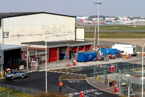 Temporary mortuary being built at Birmingham Airport