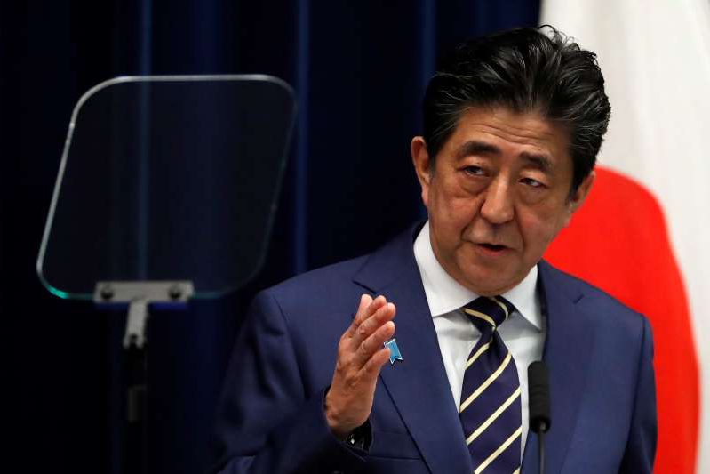 Japan's Prime Minister Shinzo Abe holds a news conference on Japan's response to the coronavirus disease (COVID-19) outbreak, at his official residence in Tokyo, Japan, March 28, 2020. REUTERS/Issei Kato