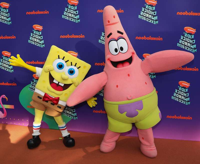 a group of stuffed animals: Could Patrick and SpongeBob be part of a specially produced broadcast of an NFL playoff game for Nickelodeon? (Photo by Victor Chavez/Getty Images)
