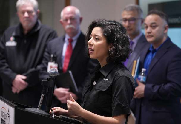 Slide 1 of 2: Lina Hidalgo, Harris County Judge, speaks about the coronavirus to the media at Harris County Office of Homeland Security and Emergency Management, 6922 Katy Rd., Thursday, March 5, 2020, in Houston.