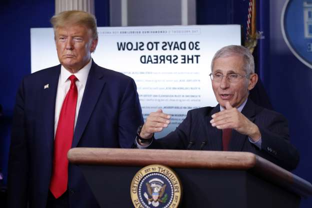 Slide 1 of 49: President Donald Trump listens as Dr. Anthony Fauci, director of the National Institute of Allergy and Infectious Diseases, speaks about the coronavirus in the James Brady Press Briefing Room of the White House, Tuesday, March 31, 2020, in Washington. (AP Photo/Alex Brandon)