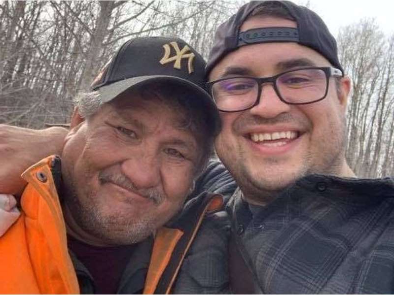 Anthony Ryan et al. that are wearing glasses and smiling at the camera: Jacob Sansom, 39, and his uncle Morris Cardinal, 57, smile in a photo taken the day before their bodies were discovered. They were found with gunshot wounds on Saturday, March 28, 2020, around 4 a.m. on a rural road near Glendon, northeast of Edmonton.