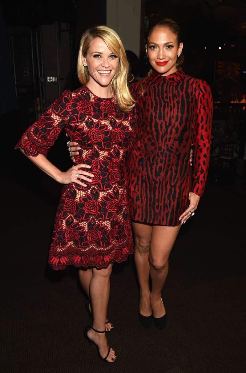 Jennifer Lopez, Reese Witherspoon are posing for a picture: LOS ANGELES, CA - OCTOBER 10: Honorees Jennifer Lopez (L) and Reese Witherspoon attend the 2014 Variety Power of Women presented by Lifetime at Beverly Wilshire Four Seasons on October 10, 2014 in Los Angeles, California. (Photo by Jason Merritt...