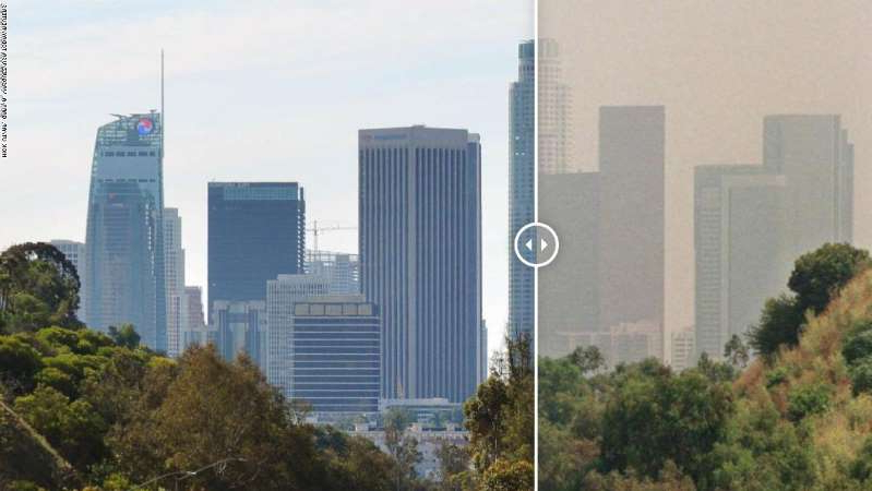 a tall building in a city: Los Angeles 1998, left, compared with Los Angeles March 2020 right