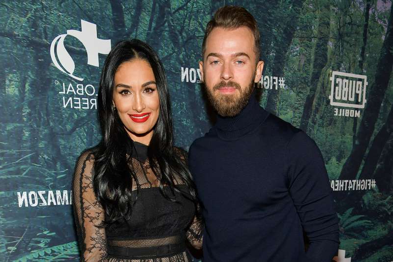 Artem Chigvintsev, The Bella Twins posing for a picture: