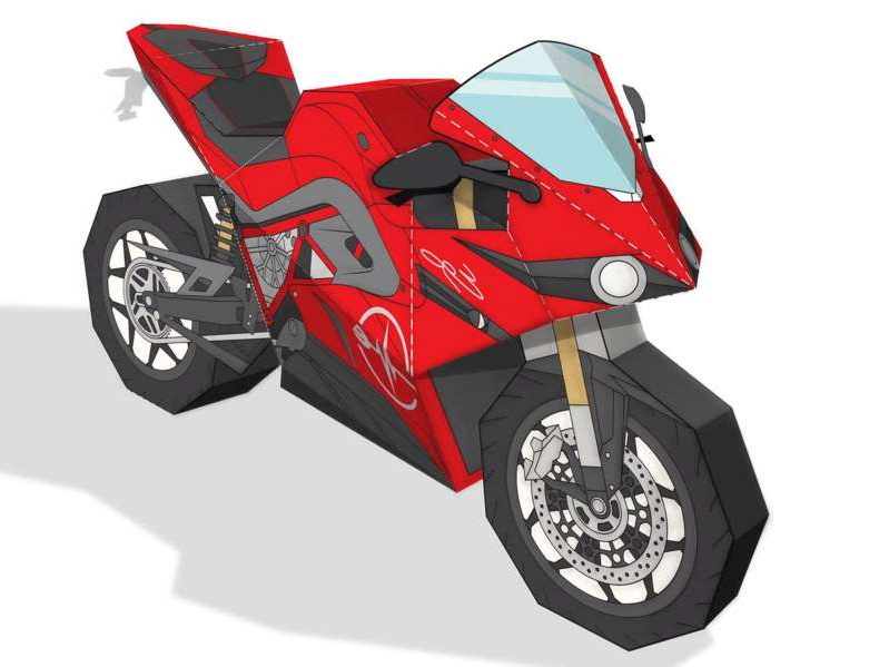 a close up of a toy: Can you fold your way to two-wheeled freedom? Give it a try with our Energica Ego papercraft template.