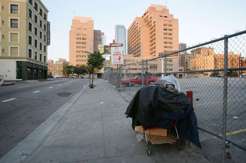 LOS ANGELES, CA - APRIL 19:  A homeless person?s