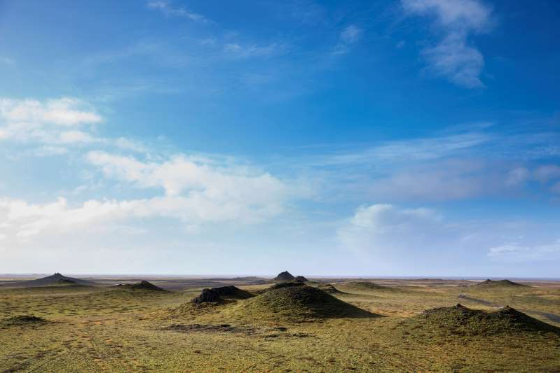 SOUTH ICELAND: Lava mounds in green landscape in South Iceland.  (Photo by Tim Graham/Getty Images)
