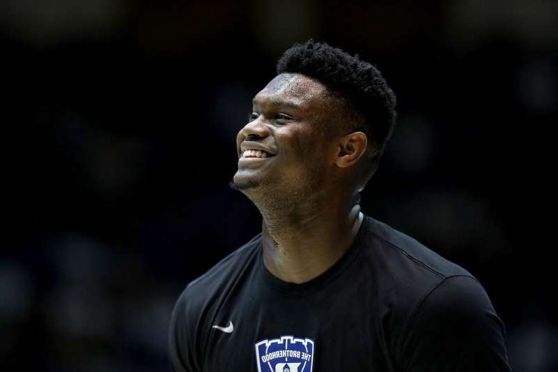 a man wearing a black shirt: Duke's Zion Williamson before a game against Clemson at Cameron Indoor Stadium in Durham, N.C., on January 5, 2019.
