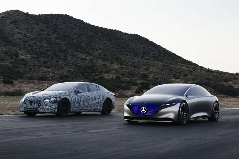 a car parked in a parking lot: The future? It's electric. Mercedes-Benz