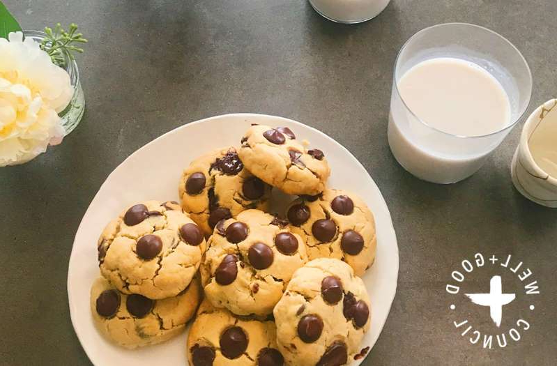 a cup of coffee and a donut on a plate: banana chocolate chip cookie recipe