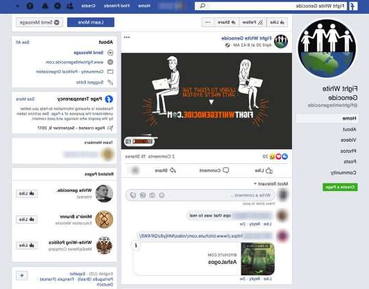 a screenshot of a cell phone: A screenshot of a white supremacist group's Facebook page from the study by the Tech Transparency Project.