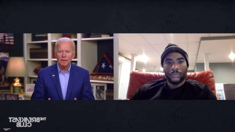 "Charlamagne Tha God, Joe Biden are posing for a picture: Former Vice President Joseph R. Biden Jr. spoke with Charlamagne Tha God on ""The Breakfast Club"" on Friday."