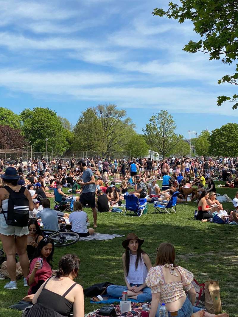 a group of people in a park: Hundreds of people are seen congregating in Trinity Bellwoods Park on Saturday.