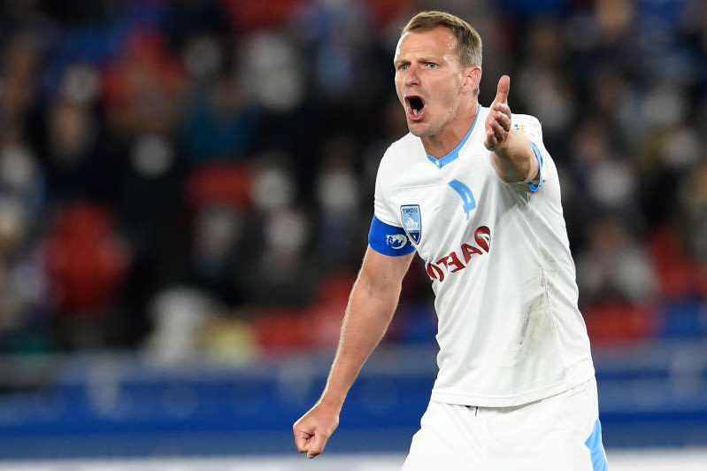 YOKOHAMA, JAPAN - FEBRUARY 19: Alex Wilkinson #4 of Sydney FC reacts during the AFC Champions League Group H match between Yokohama F.Marinos and Sydney FC at Nissan Stadium on February 19, 2020 in Yokohama, Kanagawa, Japan. (Photo by Matt Roberts/Getty Images)