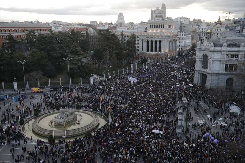 Thousands of people gather during International Women's Day at Cibeles Square in Madrid, Spain on March 8, 2020.