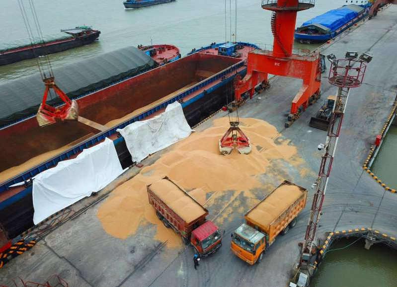 Workers load imported soybeans onto trucks at a port in Nantong in China's eastern Jiangsu province.