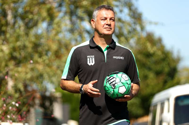 MELBOURNE, AUSTRALIA - APRIL 09: Western United A-League coach Mark Rudan delivering soccer balls to WUFC supporters homes on April 09, 2020 in Melbourne, Australia. (Photo by Robert Cianflone/Getty Images)