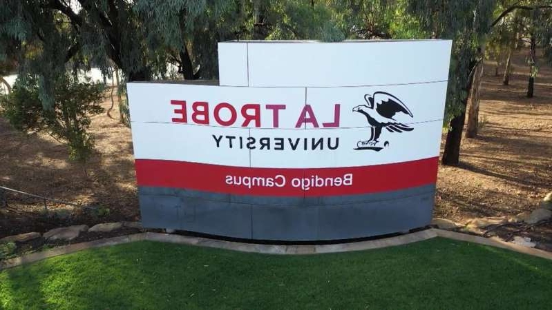 a sign on the side of the road: La Trobe University's Vice Chancellor says the institution is struggling but is not going broke. (ABC News: 7.30, file)