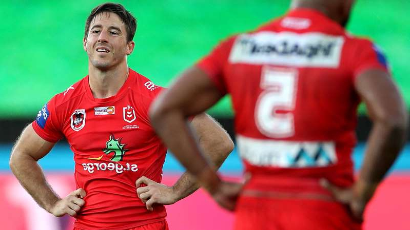 a man wearing a red shirt: Dragons halfback Ben Hunt during Saturday's loss to the Warriors.