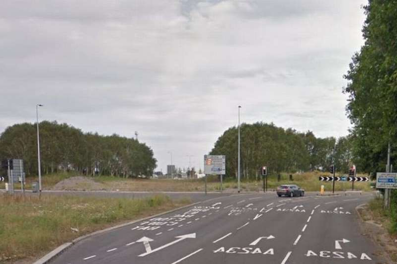 a car is lined up on the side of a road: The crash happened near the Queensgate roundabout on the A4232