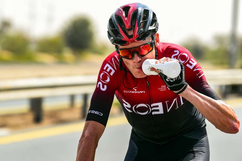 a person wearing a helmet: Chris Froome (Team Ineos) kicked off his 2020 season at the UAE Tour