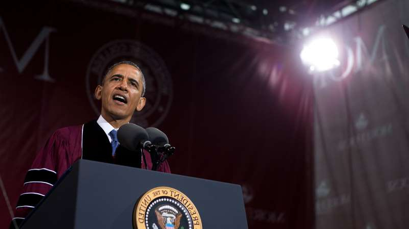 Barack Obama wearing a suit and tie: President Barack Obama delivered the commencement speech at Morehouse College in Atlanta in 2013. This May he celebrated the more than 27,000 graduates of historically black colleges and universities virtually.