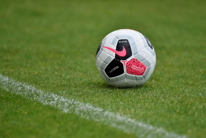 a close up of a football ball on a field: FILE PHOTO: Pre Season Friendly - Northampton Town v Sheffield United