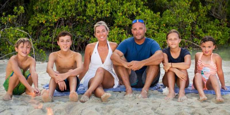 Bryan Baeumler et al. posing for the camera: In HGTV's new show, 'Renovation Island,' renovation experts Bryan and Sarah Baeumler move to the Bahamas with their four young children with the goal of restoring an entire abandoned resort.