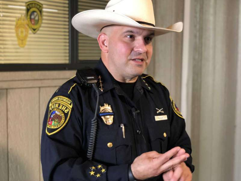 Javier Salazar wearing a uniform: Bexar County Sheriff Javier Salazar addresses the media after speaking to a class of aspiring law enforcement officers at the Bexar County Sheriff's Academy in Atascosa on Friday.